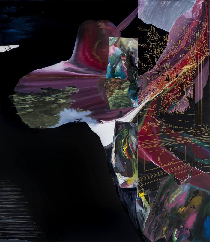 Gioacchino Pontrelli, Paesaggio caduto n.2, 2013, tecnica mista su tela.