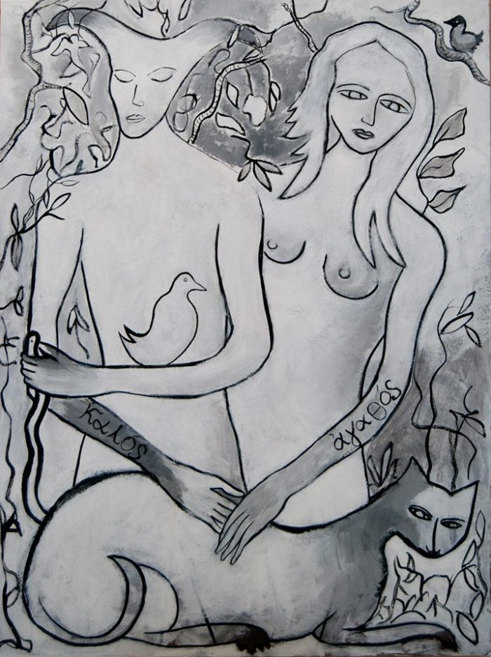 LORENZO BRUSCHINI KALOS KAI AGATHOS (Oberon and consort)  acrilico su tela  120 x 90 cm.