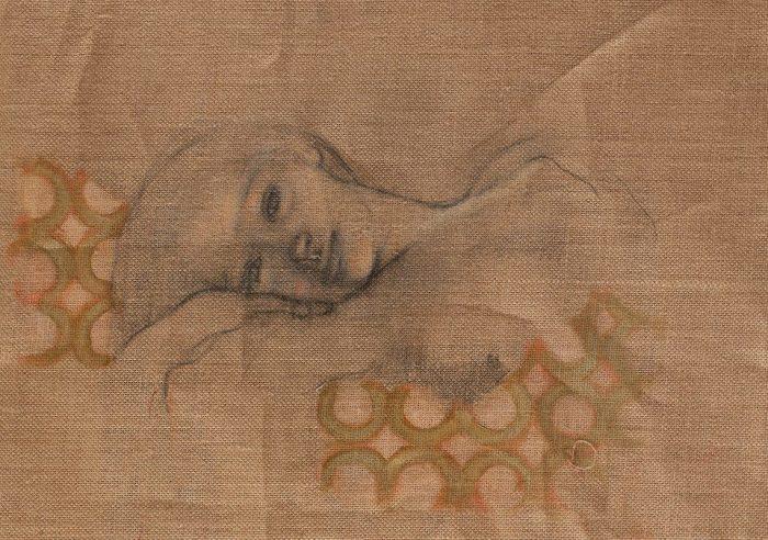 LUCIANELLA CAFAGNA Thief of love 2016 tecnica mista su juta 33 x 50 cm.
