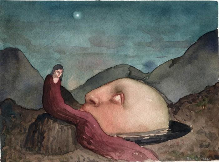 ALESSANDRO SICIOLDR Oracolo 2016 acquerello 18 x 24 cm.