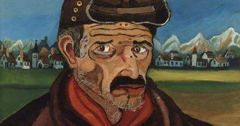 Antonio Ligabue, Autoritratto con berretto da motociclista, 1954 - 55, olio su tavola di faesite, 80 x 50 cm., Collezione privata