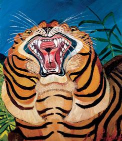 Antonio Ligabue, Testa di tigre, 1955 - 56, olio su tavola di faesite, 75 x 64 cm., Collezione privata
